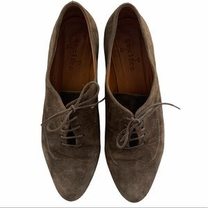Coclico Lace Up Oxford Flats Brown Suede Size 37.5